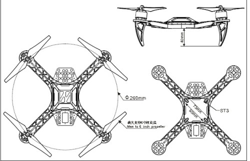 Black Nylon 4 Axis Quadcopter Frame Kit Kk260 Qa279
